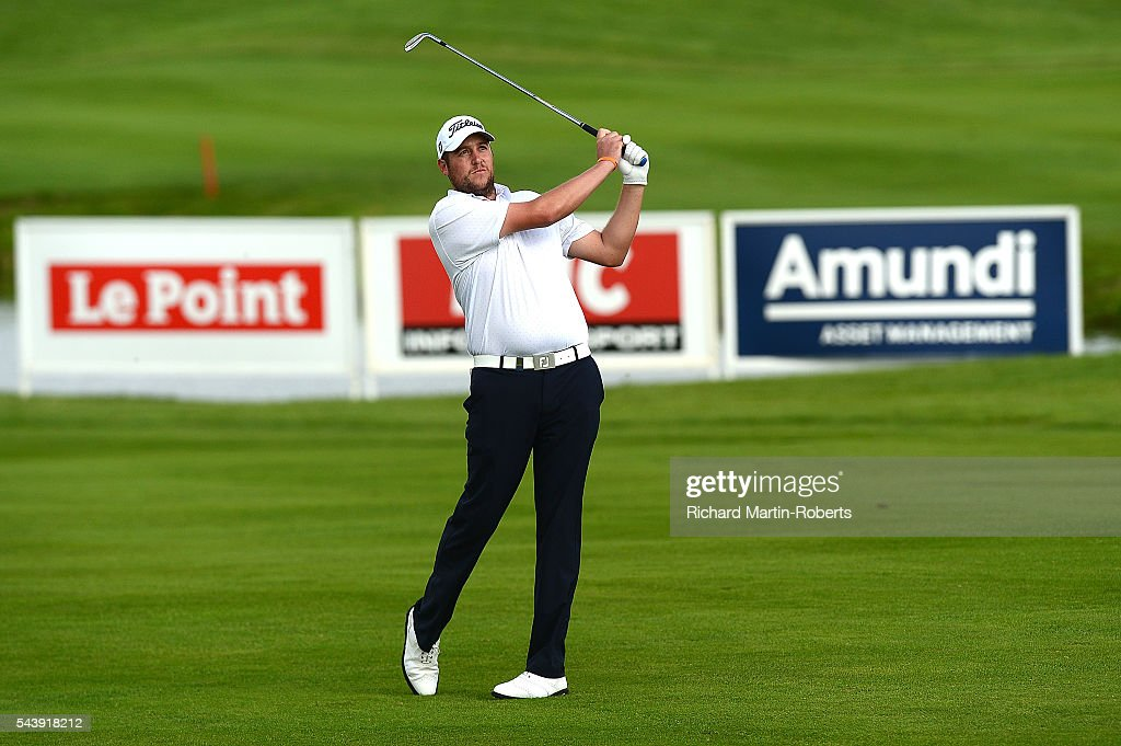 Matthew Southgate of England hits his 2nd shot on the 9th hole during the first round of the 100th Open de France at Le Golf National on June 30, 2016 in Paris, France.