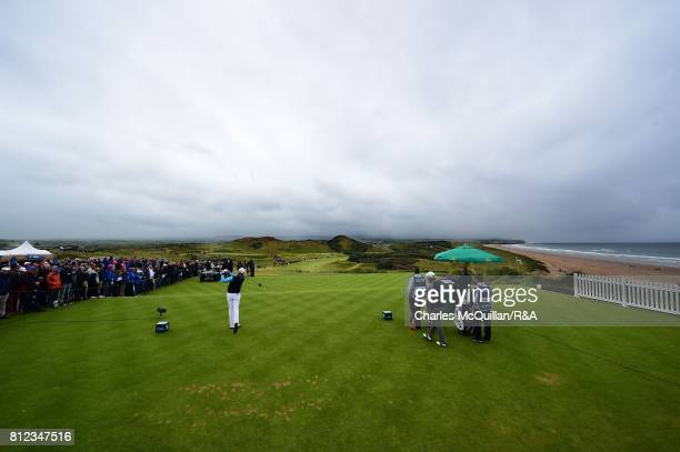 Matthew Southgate of England tees off from the 1st tee during the final round of the Dubai Duty Free Irish Open hosted by the Rory Foundation at...