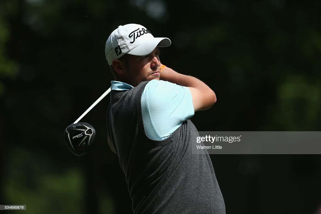 Matthew Southgate of England tees off on the 3rd hole during day two of the BMW PGA Championship at Wentworth on May 27, 2016 in Virginia Water, England.