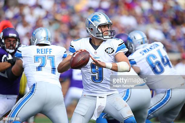 Matthew Stafford of the Detroit Lions attempts a pass against the Minnesota Vikings in the third quarter at TCF Bank Stadium on September 20 2015 in...