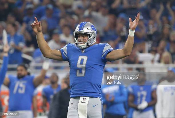 Matthew Stafford of the Detroit Lions celebrates a second quarter touchdown during the preseason game against the New York Jets on August 19 2017 at...