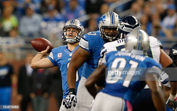 Matthew Stafford of the Detroit Lions throws a 46 yard touchdown pass to Titus Young during the second quarter of the game against the Seattle...