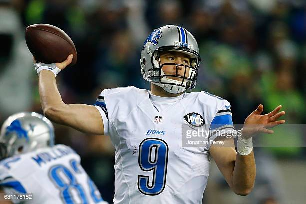 Matthew Stafford of the Detroit Lions throws a pass during the second half against the Seattle Seahawks in the NFC Wild Card game at CenturyLink...