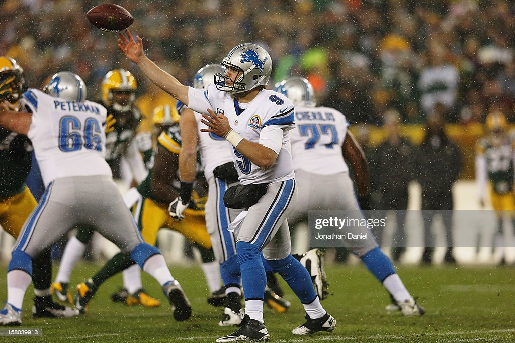 Matthew Stafford #9 of the Detroit Lions throws against the Green Bay Packers at Lambeau Field on December 9, 2012 in Green Bay, Wisconsin.