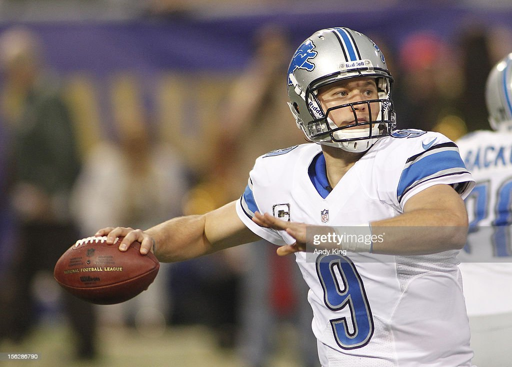 Matthew Stafford #9 of the Detroit Lions throws against the Minnesota Vikings on November 11, 2012 at Mall of America Field at the Hubert H. Humphrey Metrodome in Minneapolis, Minnesota.