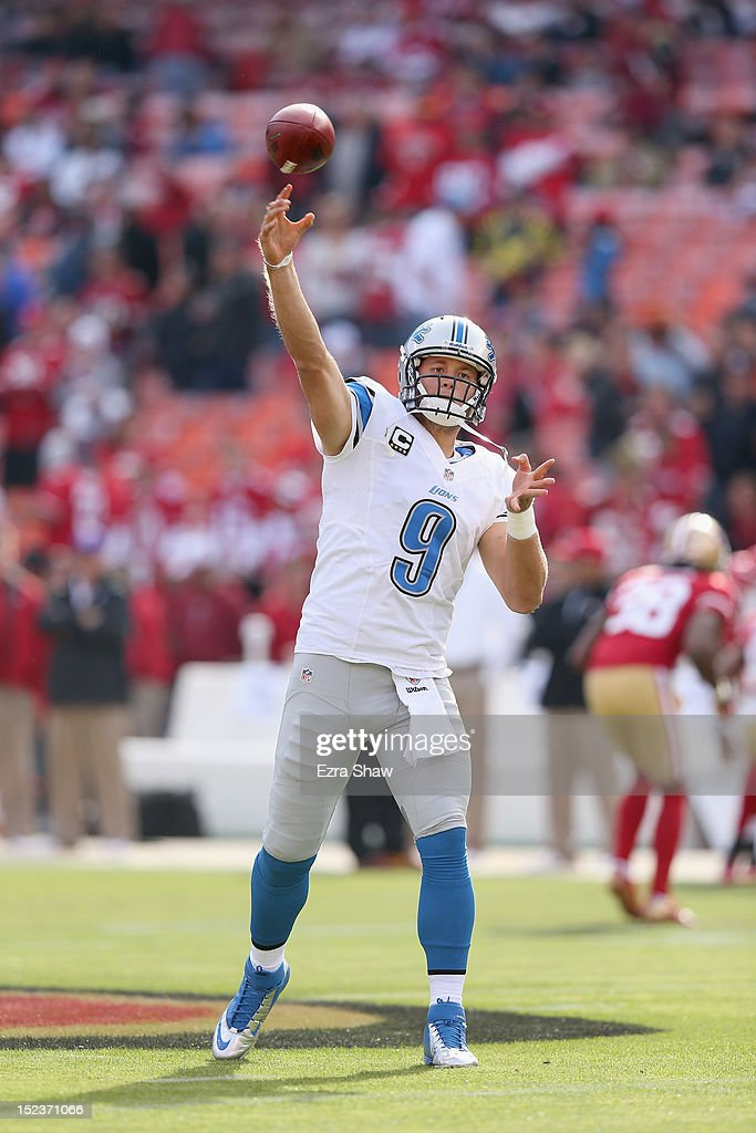 <a gi-track='captionPersonalityLinkClicked' href=/galleries/search?phrase=Matthew+Stafford&family=editorial&specificpeople=3228634 ng-click='$event.stopPropagation()'>Matthew Stafford</a> #9 of the Detroit Lions warms up before their game against the San Francisco 49ers at Candlestick Park on September 16, 2012 in San Francisco, California.