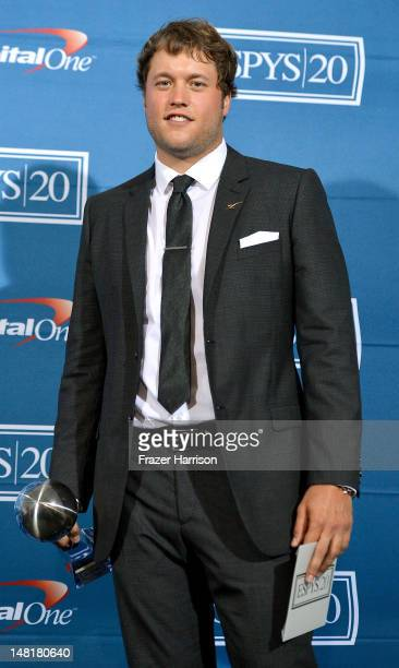 Matthew Stafford of the Detroit Lions wins award Best Comeback Athlete poses in the press room during the 2012 ESPY Awards at Nokia Theatre LA Live...