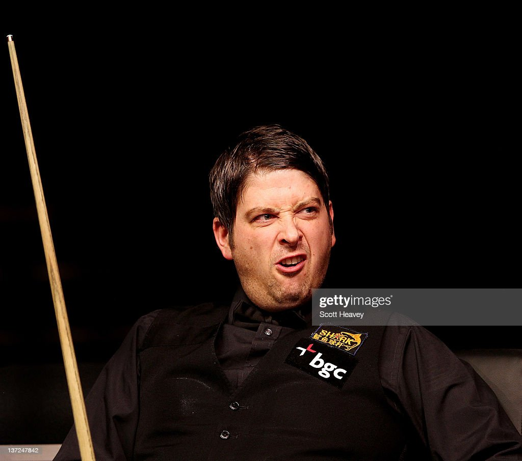 Matthew Stevens reacts during his match with John Higgins during day three of the The Masters at Alexandra Palace on January 17, 2012 in London, England.