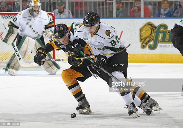 Matthew Strome of the Hamilton Bulldogs battles against Alex Formenton of the London Knights during an OHL game at Budweiser Gardens on November 6...