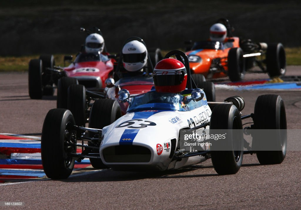 Matthew Sturmer drives the #63 Macon MR8 during the Historic Formula Ford 1600 race at the Historic Sports Car Club Thruxton Revival Meeting at the Thruxton Circuit on March 31, 2013 near Andover, United Kingdom.