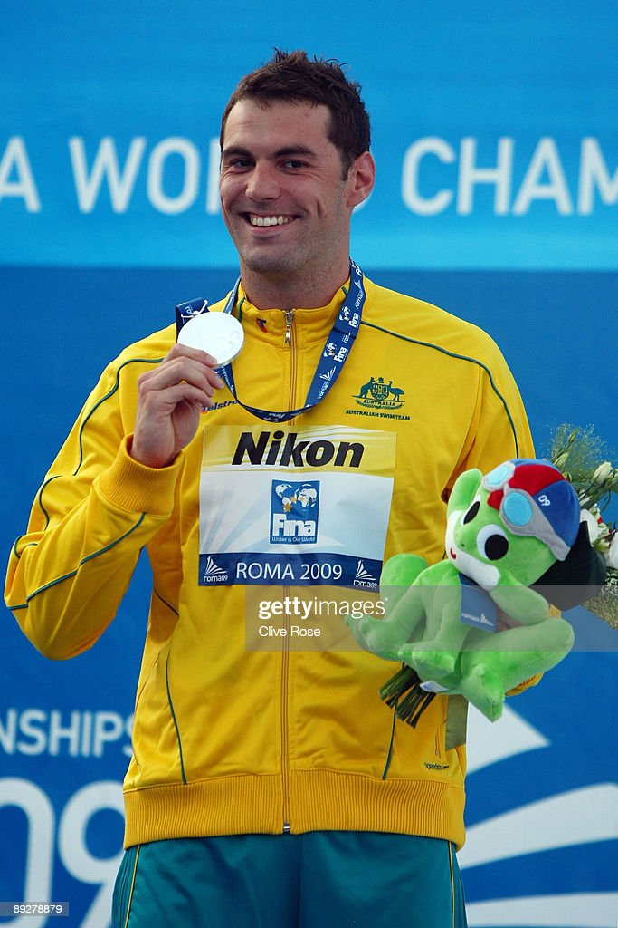 Matthew Targett of Australia receives the silver medal during the medal ceremony for the Men's 50m Butterfly Final during the 13th FINA World Championships at the Stadio del Nuoto on July 27, 2009 in Rome, Italy.