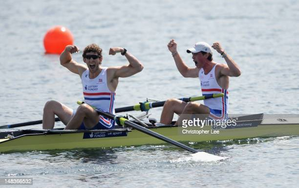 Matthew Tarrant and Kieran Emery of Great Britain celebrate winning gold in the Men's Pair Final during Day 5 of the 2012 FISA World Rowing U23...