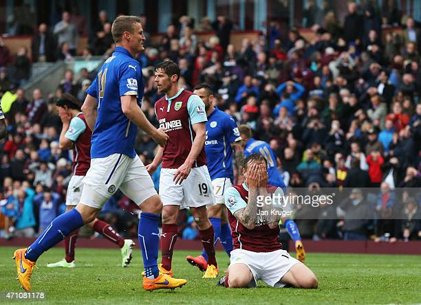 Matthew Taylor of Burnley reacts after a missed penalty during the Barclays Premier League match between Burnley and Leicester City at Turf Moor on...