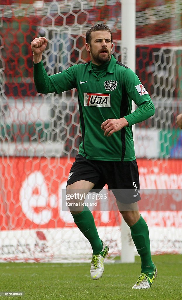 Matthew Taylor of Muenster celebrates the goal to 1:1 during the 3rd Liga match between RW Erfurt and Preussen Muenster at Steigerwald Stadion on April 27, 2013 in Erfurt, Germany. (Photo by Karina Hessland/Bongarts/Getty Images) at Steigerwald Stadion on April 27, 2013 in Erfurt, Germany.