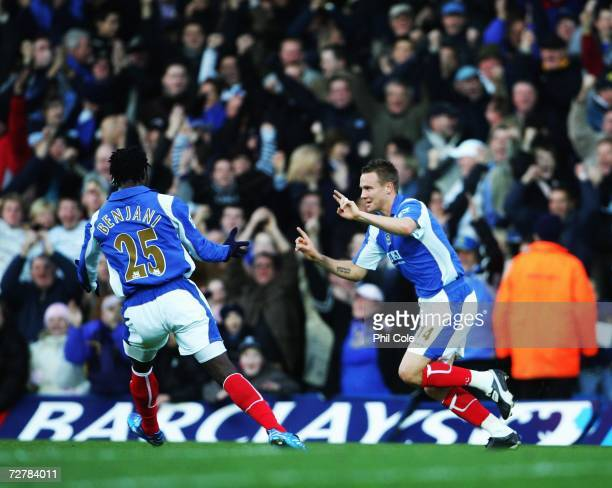 Matthew Taylor of Portsmouth celabrates scoring during the Barclays Premiership match between Portsmouth and Everton at Fratton Park on December 09...