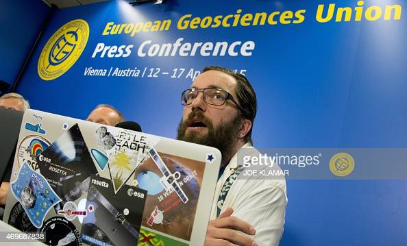 Matthew Taylor scientist of the Rosetta program of the European Space Agency speaks during the press conference of the European Geosciences...