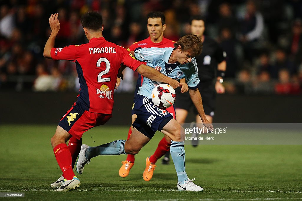 Matthew Thompson of Sydney gets through the defence to score a goal during the round 24 A-League match between Adelaide United and Sydney FC at Coopers Stadium on March 21, 2014 in Adelaide, Australia.