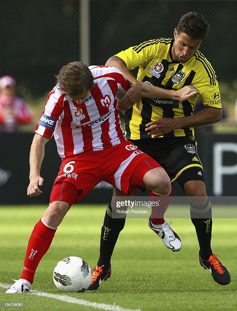 Matthew Thompson of the Heart controls the ball during the round nine A-League match between the Melbourne Heart and the Wellington Phoenix at Latrobe City Sports & Entertainment Complex on December 4, 2011 in Melbourne, Australia.