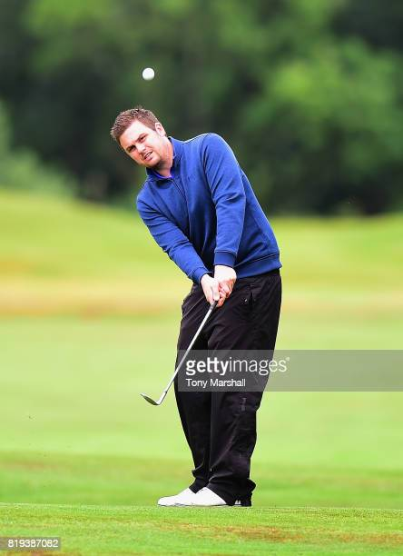 Matthew Thorpe of Gog Magog Golf Club chips on to the 17th fairway during the PGA Lombard Trophy East Qualifier at Sandy Lodge Golf Club on July 20...