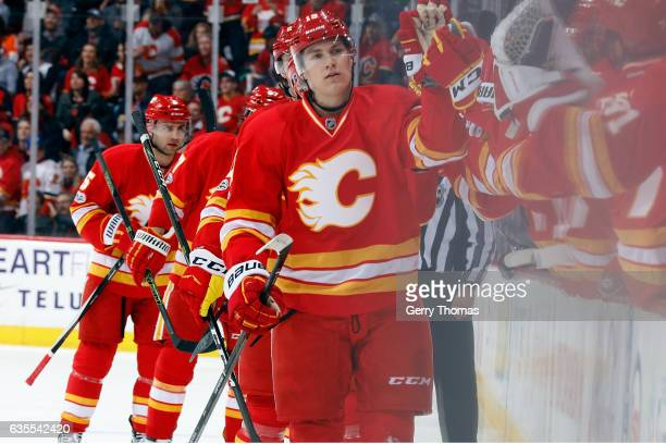 Matthew Tkachuk and teammates of the Calgary Flames celebrate a goal against the Philadelphia Flyers during an NHL game on February 15 2017 at the...