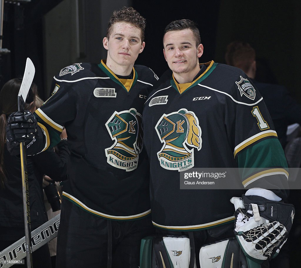 Matthew Tkachuk #7 and Tyler Parsons #1 of the London Knights pose after being named the games 1st and 2nd stars against the Kitchener Rangers during an OHL game at Budweiser Gardens on March 6, 2016 in London, Ontario, Canada. The Knights defeated the Rangers 4-1.