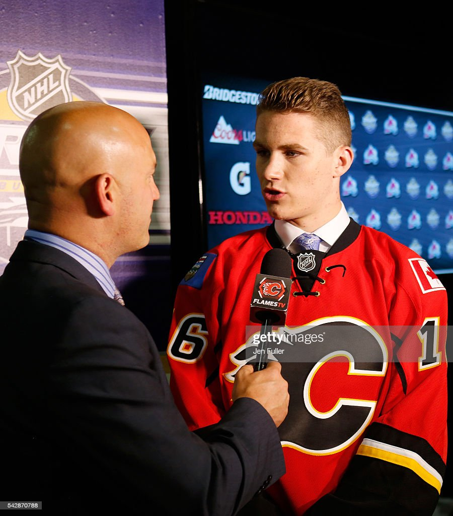 <a gi-track='captionPersonalityLinkClicked' href=/galleries/search?phrase=Matthew+Tkachuk&family=editorial&specificpeople=13659920 ng-click='$event.stopPropagation()'>Matthew Tkachuk</a> gives an interview after being selected sixth overall by the Calgary Flames during round one of the 2016 NHL Draft on June 24, 2016 in Buffalo, New York.