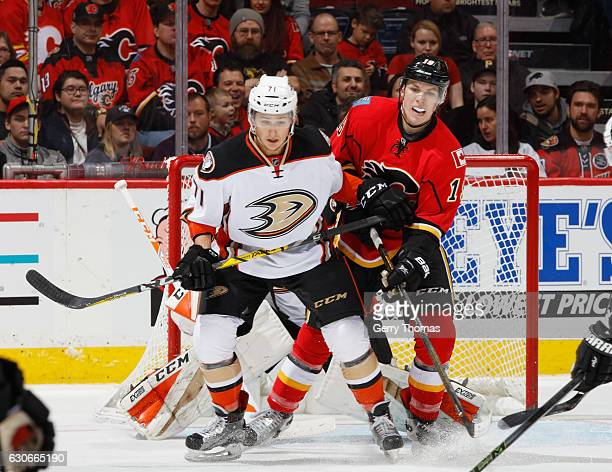 Matthew Tkachuk of the Calgary Flames battles against Brandon Montour of the Anaheim Ducks playing in his first NHL game at Scotiabank Saddledome on...