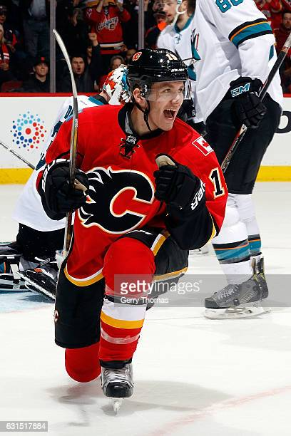 Matthew Tkachuk of the Calgary Flames celebrates a goal against the San Jose Sharks during an NHL game on January 11 2017 at the Scotiabank...