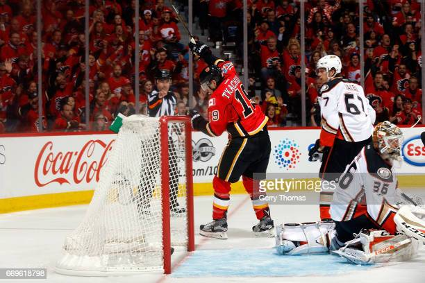 Matthew Tkachuk of the Calgary Flames celebrates a goal against the Anaheim Ducks during Game One of the Western Conference First Round during the...