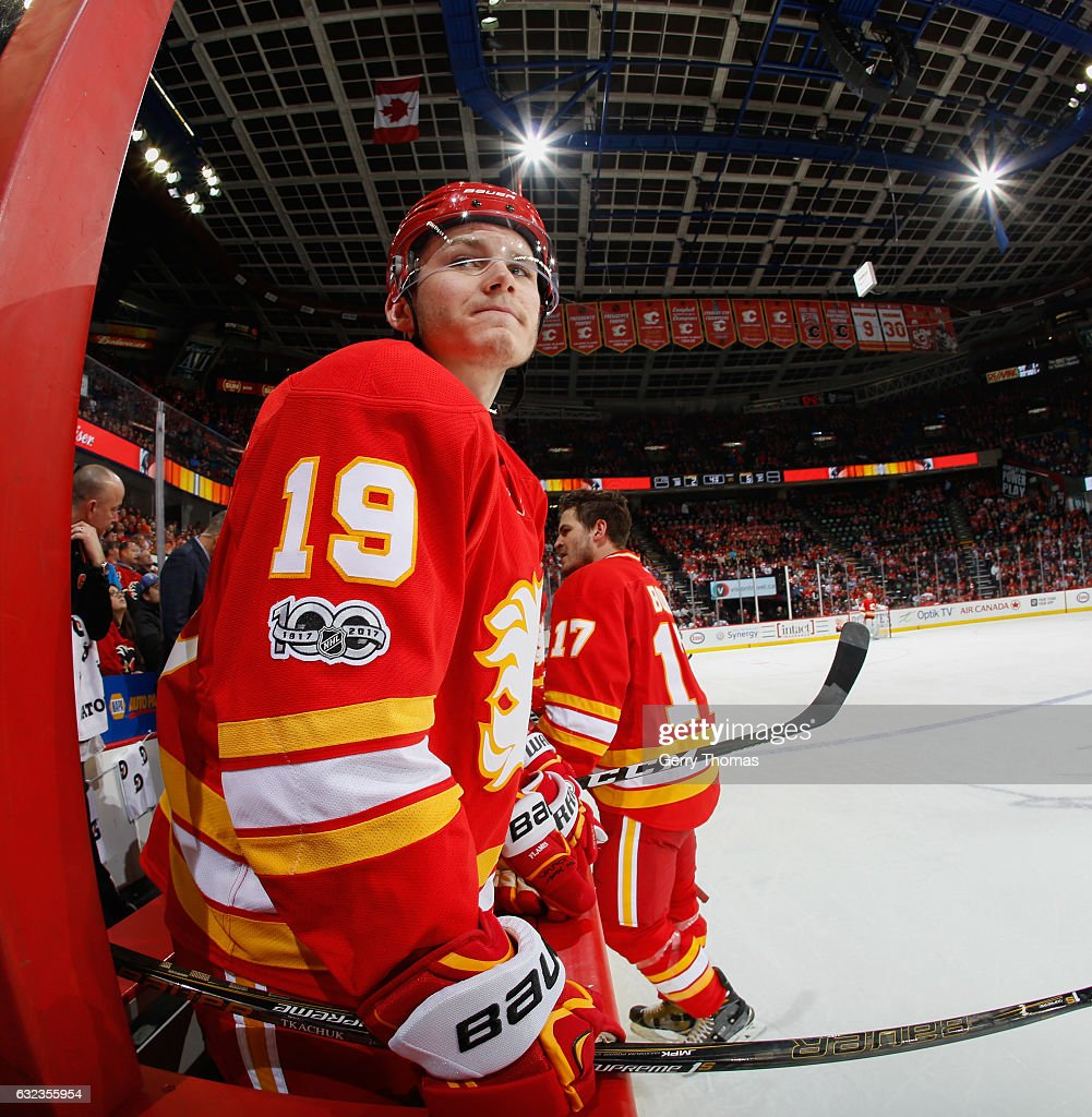 Matthew Tkachuk #19 of the Calgary Flames celebrates after a goal against the Edmonton Oilers at Scotiabank Saddledome on January 21, 2017 in Calgary, Alberta, Canada.
