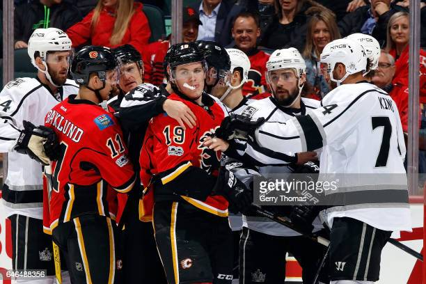 Matthew Tkachuk of the Calgary Flames gets into a postwhistle scrum against the Los Angeles Kings during an NHL game on February 28 2017 at the...