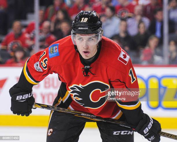 Matthew Tkachuk of the Calgary Flames in action against the Colorado Avalanche during an NHL game at Scotiabank Saddledome on March 27 2017 in...