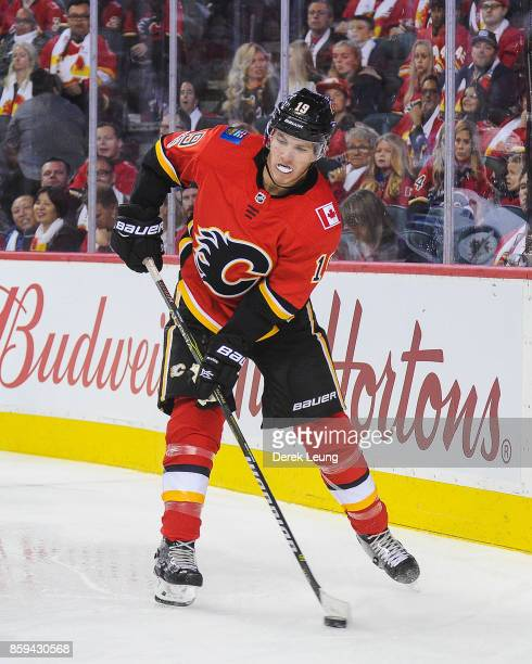 Matthew Tkachuk of the Calgary Flames in action against the Winnipeg Jets during an NHL game at Scotiabank Saddledome on October 7 2017 in Calgary...