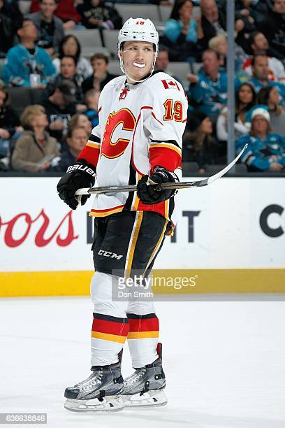 Matthew Tkachuk of the Calgary Flames looks on during a NHL game against the San Jose Sharks at SAP Center at San Jose on December 20 2016 in San...