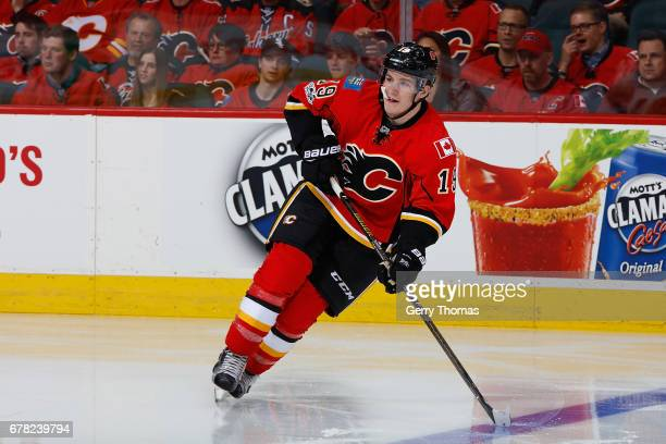 Matthew Tkachuk of the Calgary Flames skates against the Anaheim Ducks during Game Three of the Western Conference First Round during the 2017 NHL...