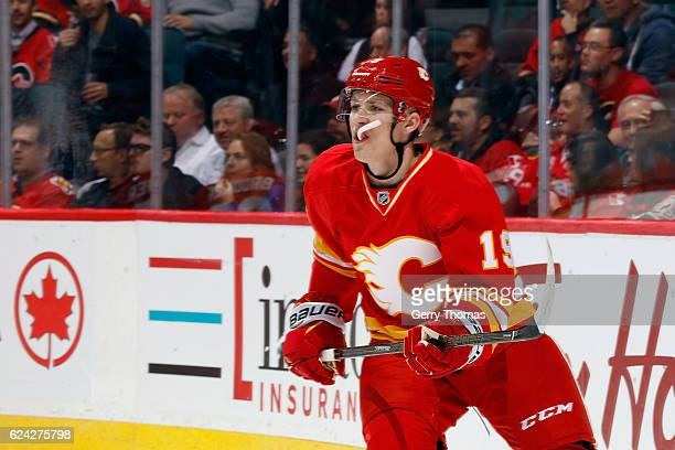 Matthew Tkachuk of the Calgary Flames skates against the Chicago Blackhawks during an NHL game on November 18 2016 at the Scotiabank Saddledome in...