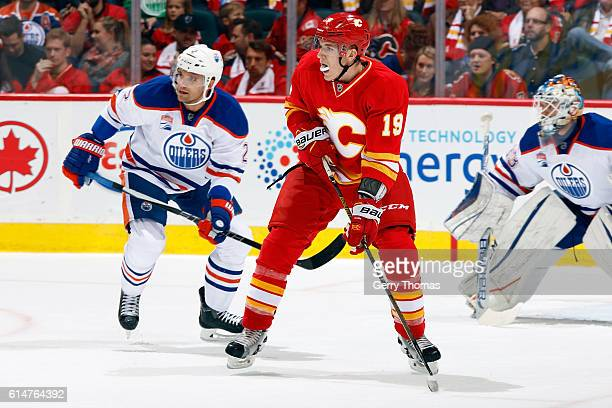 Matthew Tkachuk of the Calgary Flames skates against the Edmonton Oilers during an NHL game on October 14 2016 at the Scotiabank Saddledome in...