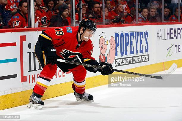 Matthew Tkachuk of the Calgary Flames skates against the Washington Capitals during an NHL game on October 30 2016 at the Scotiabank Saddledome in...