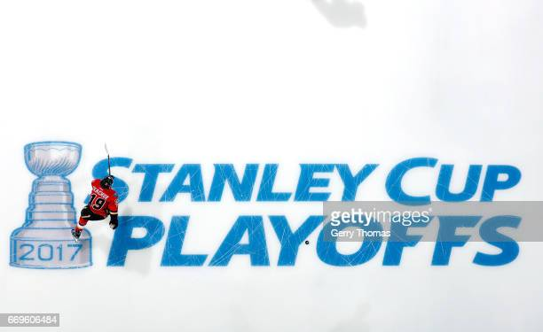 Matthew Tkachuk of the Calgary Flames skates before Game One of the Western Conference First Round against the Anaheim Ducks during the 2017 NHL...