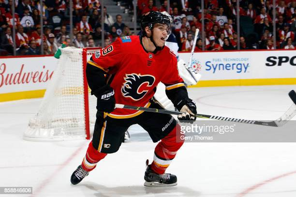 Matthew Tkachuk of the Calgary Flames skates during an NHL game against the Winnipeg Jets on October 7 2017 at the Scotiabank Saddledome in Calgary...