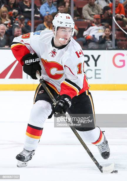 Matthew Tkachuk of the Calgary Flames skates with the puck during the second period of the game against the Anaheim Ducks at Honda Center on April 4...