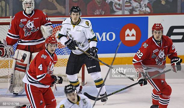 Matthew Tkachuk of the London Knights waits for a puck to tip against the Niagara IceDogs during Game Four of the OHL Championship final for the...