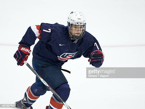 Matthew Tkachuk of the US National Under18 Team skates up ice against the Providence College Friars during exhibition NCAA hockey at Schneider Arena...