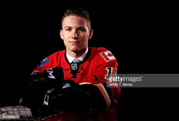 Matthew Tkachuk poses for a portrait after being selected sixth overall by the Calgary Flames in round one during the 2016 NHL Draft on June 24 2016...
