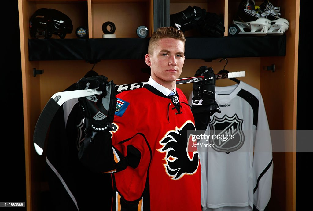 Matthew Tkachuk, selected sixth overall by the Calgary Flames, poses for a portrait during round one of the 2016 NHL Draft at First Niagara Center on June 24, 2016 in Buffalo, New York.