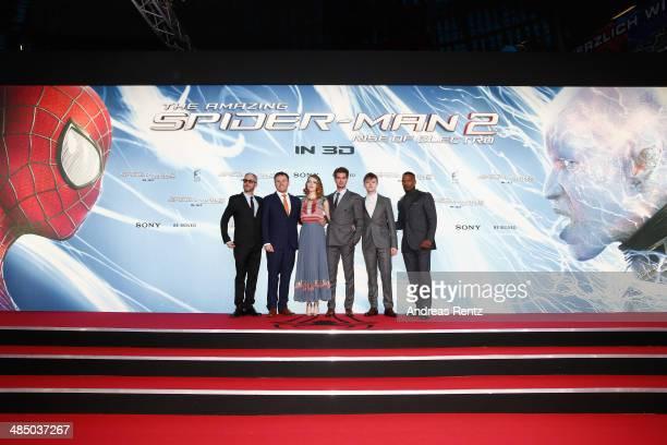 Matthew Tolmach Marc Webb Emma Stone Andrew Garfield Dance DeHaan and Jamie Foxx attend the 'The Amazing SpiderMan 2 Rise Of Electro' Berlin Premiere...