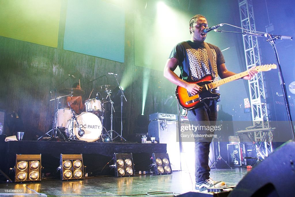 Matthew Tong, Kele Okereke and Gordon Moakes of Bloc Party performs on stage at O2 Academy on October 13, 2012 in Leeds, United Kingdom.