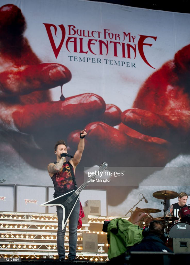 Matthew Tuck of Bullet For My Valentine performs at Day 1 of The Download Festival at Donnington Park on June 14, 2013 in Donnington, England.