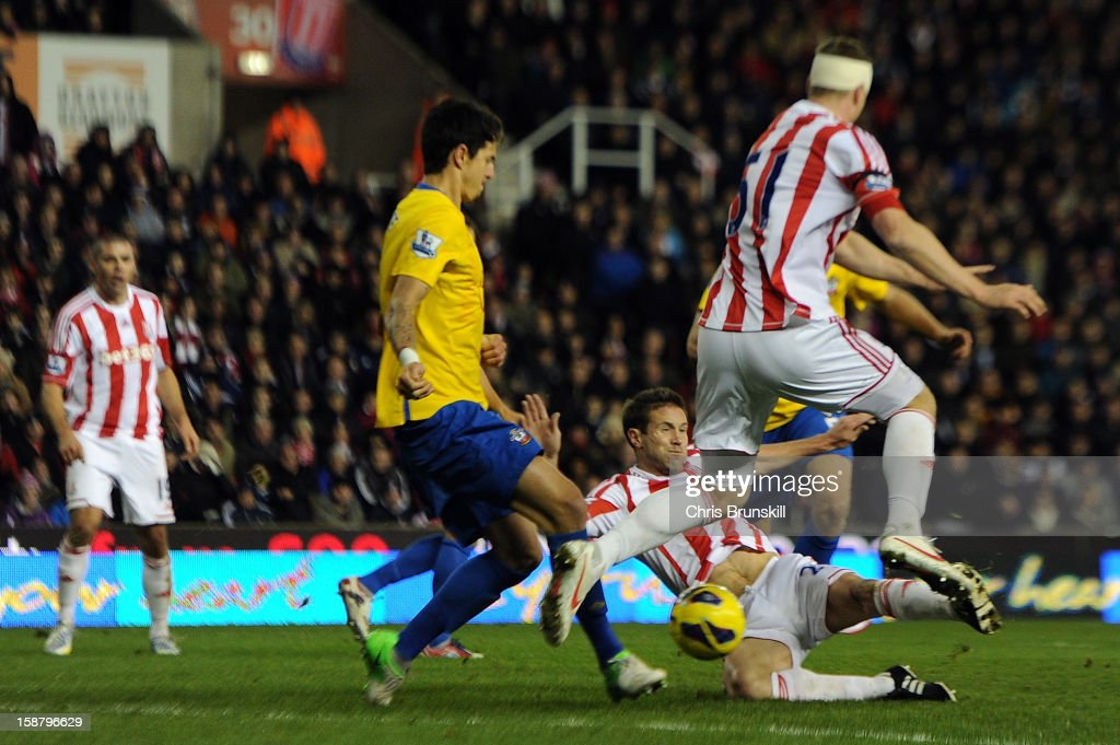 Matthew Upson of Stoke City scores his side's second goal during the Barclays Premier League match between Stoke City and Southampton at Britannia Stadium on December 29, 2012 in Stoke on Trent, England.