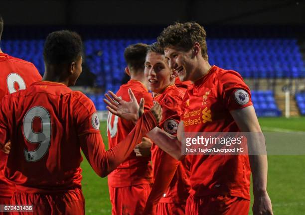 Matthew Virtue of Liverpool celebrates his winning goal with team mate Rhian Brewster during the Liverpool v Manchester City Premier League 2 game at...